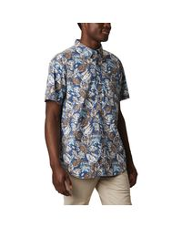 Columbia Blue Rapid Rivers Printed Ss Shirt for men