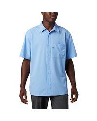 Columbia Blue Pfg Zero Rules Woven Ss Shirt for men
