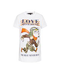 T-shirt In Jersey Stretch Aviator Doll di Love Moschino in White