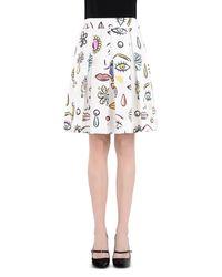 Boutique Moschino White Knee Length Skirt