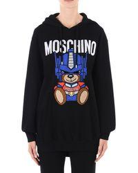 Moschino - Black Hooded Sweatshirt - Lyst