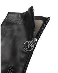 Gants En Peau Avec Logo Double Question Mark Moschino pour homme en coloris Black