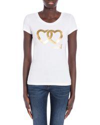 T-shirt En Jersey Stretch Double Heart Love Moschino en coloris White