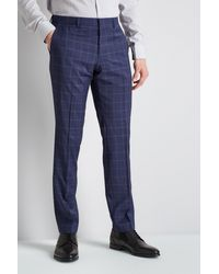 HUGO - Blue Windowpane Trousers for Men - Lyst