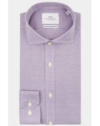 Moss Bros - Extra Slim Fit Purple Single Cuff Puppytooth Zero Iron Shirt for Men - Lyst
