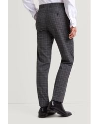 Moss Esq. Gray Regular Fit Machine Washable Grey With White Glen Check Trousers for men