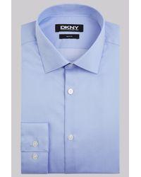 DKNY | Slim Fit Sky Blue Single Cuff Twill Spot Shirt for Men | Lyst