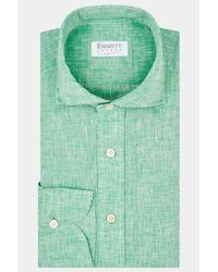 Emmett Slim Fit Green Single Cuff Linen Shirt for men