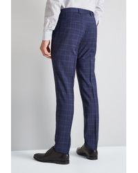 HUGO - Blue Windowpane Trousers for Men - Lyst