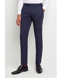 Moss London Slim Fit Blue Boucle Windowpane Trousers With Stretch for men