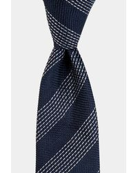 Moss Bros - Blue Navy Stab Stitch Stripe Tie for Men - Lyst