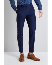 Moss London Skinny Fit Blue Check Trousers for men