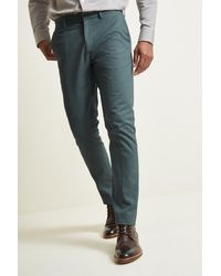 Moss London Slim Fit Peacock Blue Stretch Chino for men