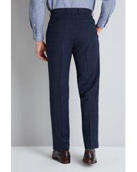 Moss Esq. Blue Regular Fit Navy Check Trouser for men