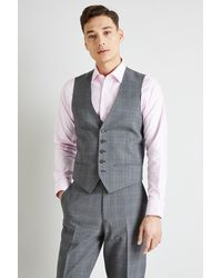 02e17b5e5eee Ted Baker Gold Tailored Fit Grey Glen Check Waistcoat in Metallic ...