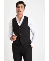 Moss London Slim Muscle Fit Black Waistcoat for men