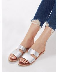 Ancient Greek Sandals Apteros Metallic Crosta Metal Silver