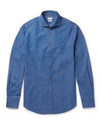 Brunello Cucinelli Blue Slim-fit Cutaway-collar Cotton-chambray Shirt for men