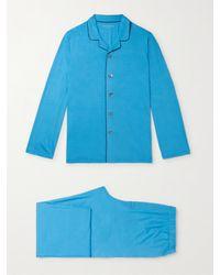 Derek Rose Blue Stretch Micro Modal Jersey Pyjama Set for men