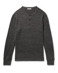 Alex Mill Gray Waffle-knit Mélange Cotton Henley T-shirt for men