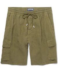 Vilebrequin - Green Baie Brushed-linen Bermuda Shorts for Men - Lyst