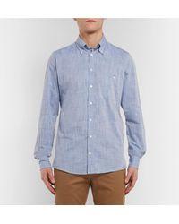 Richard James Blue Button-down Collar Mélange Cotton Shirt for men