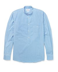 Richard James Blue Grandad-collar Bengal-striped Cotton Shirt for men