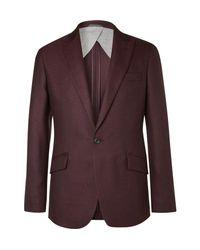 Hackett Purple Burgundy Duke Basketweave Wool Blazer for men