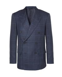 Kingsman Blue Harry's Navy Double-breasted Checked Wool, Silk And Linen-blend Suit Jacket for men