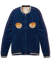 Remi Relief Blue Appliquéd Cotton-velvet Bomber Jacket for men