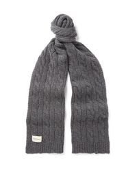 Oliver Spencer Gray Arbury Cable-knit Wool-blend Scarf for men