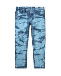 Todd Snyder Blue Slim-fit Cropped Tie-dyed Stretch-denim Jeans for men