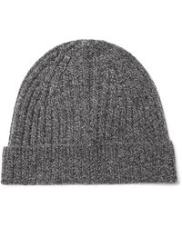 Theory Gray Ribbed Cashmere Beanie for men