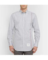 Thom Browne Gray Slim-fit Button-down Collar Striped Cotton-poplin Shirt for men