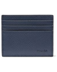Prada Blue Saffiano Leather Cardholder for men