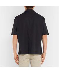 Dunhill Black Camp-collar Cotton Shirt for men