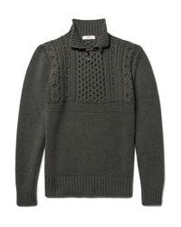 Inis Meáin Green Máirtín Beag Cable-knit Merino Wool Sweater for men
