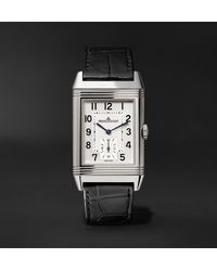 Jaeger-lecoultre White Reverso Classic Large Hand-wound 27.4mm Stainless Steel And Alligator Watch for men
