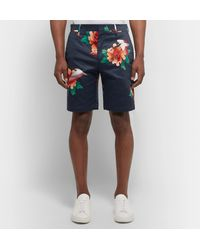 Paul Smith Blue Printed Cotton-blend Satin Shorts for men