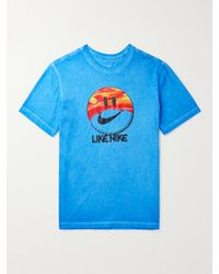 Nike Blue Printed Cotton-jersey T-shirt for men