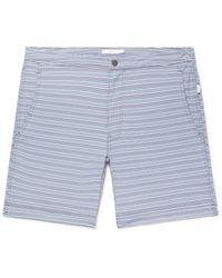 Onia Blue Calder Long-length Striped Stretch-seersucker Swim Shorts for men