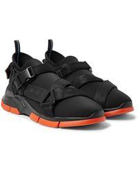 Prada Black Xy Webbing-trimmed Neoprene Sneakers for men