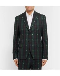 Gucci Green Embroidered Checked Wool-twill Blazer for men