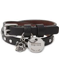Alexander McQueen - - Studded Leather Wrap Bracelet - Black for Men - Lyst