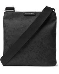 Alexander McQueen Black Leather-trimmed Jacquard Messenger Bag for men