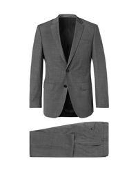 BOSS Gray Grey Huge Genius Textured Super 130s Virgin Wool Suit for men