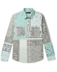 Amiri Blue Patchwork Bandana-print Shirt for men