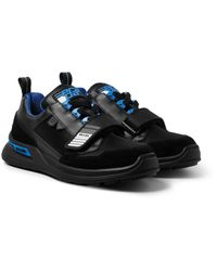 Prada Black Leather, Mesh And Suede Sneakers for men