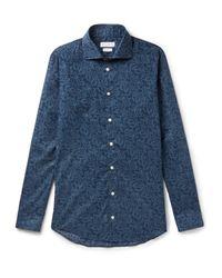 Richard James Blue Slim-fit Printed Cotton-poplin Shirt for men