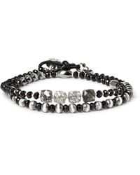 Peyote Bird - Black Sterling Silver, Onyx, Hematite And Rutilated Quartz Wrap Bracelet for Men - Lyst